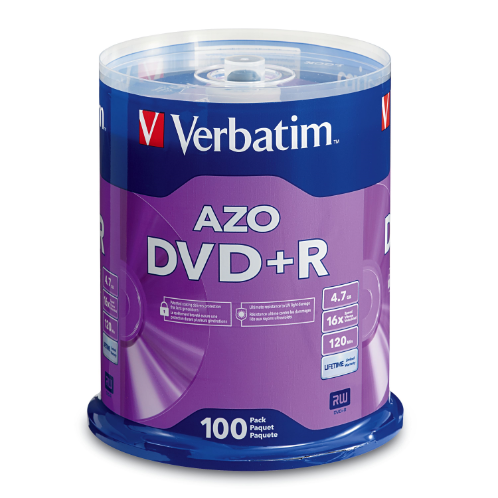 AZO DVD+R 4.7GB 16X with Branded Surface - 100pk Spindle